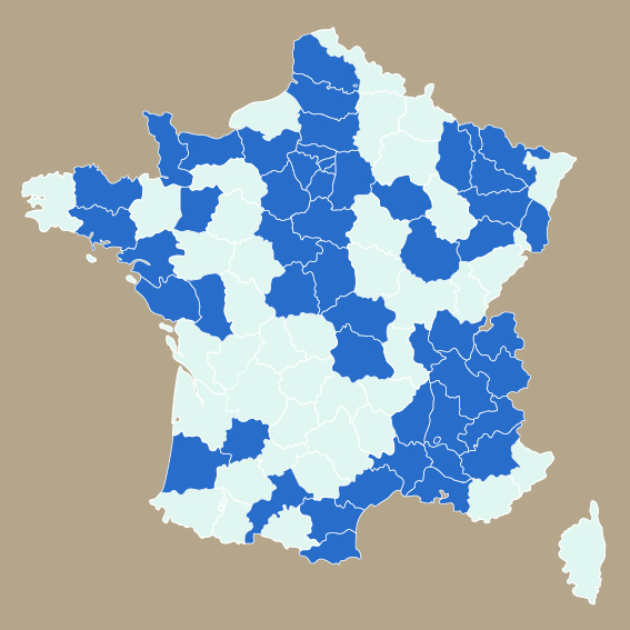Carte d'intervention en France
