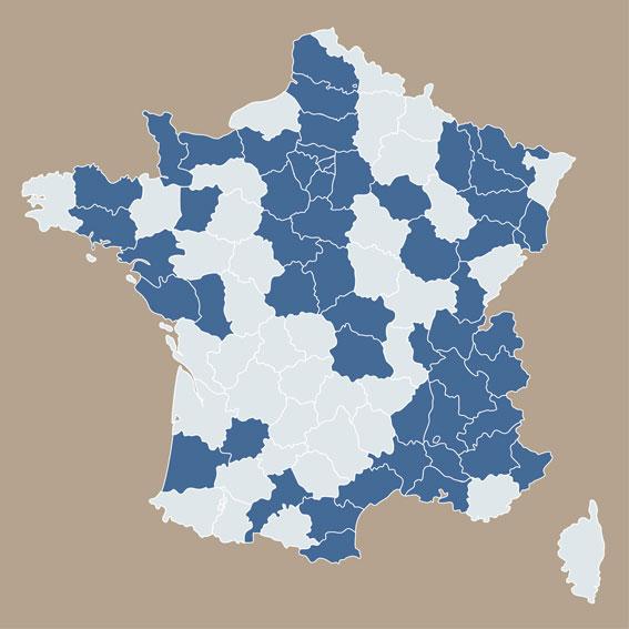 Carte d'intervention en France